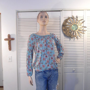 Size Large Womens Hippie Blouse blue pink brown green flower print top boho gypsy cowgirl glam style clothes clothing elastic ban sleeve