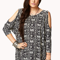 Tribal Print Elephant Cutout Top
