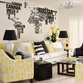 Heartybay Wall Sticker Decal ,World Map English Letter Quote,X-Large
