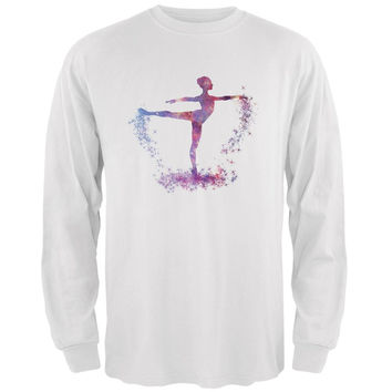 Galaxy Ballarina Dancer White Adult Long Sleeve T-Shirt