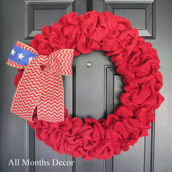 Red Burlap Wreath with American Flag Themed Chevron Bow, Memorial, Independence Day 4th of July, Military, Rustic Door Porch