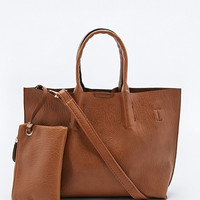 Mini Vegan Leather Tote Bag in Tan - Urban Outfitters
