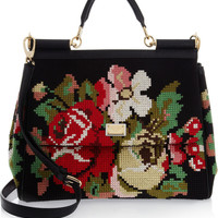 Dolce & Gabbana | Miss Sicily wool tapestry and leather tote | NET-A-PORTER.COM