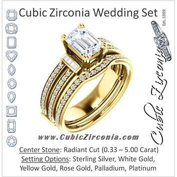 CZ Wedding Set, featuring The Kaitlyn engagement ring (Customizable Radiant Cut with Flanking Baguettes And Round Channel Accents)
