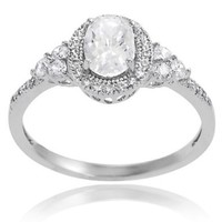Alexandria Collection Sterling Silver Cubic Zirconia Oval Bridal and Engagement Ring