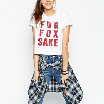 CREYUG3 High Street New Brief Style Fur Fox Sake Letter Printed Short Sleeve Punk White Cropped T-Shirt = 1931491268