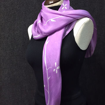 Mauve Cherry Blossoms - Hand Painted Silk Scarf / Wrap
