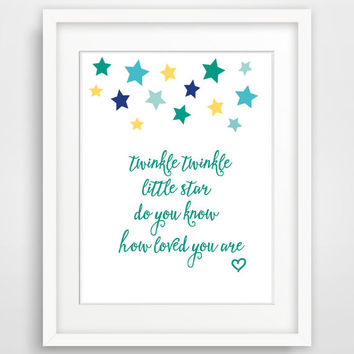 Twinkle Twinkle Little Star Nursery Wall Art, Printable Nursery Wall Decor,  Digital Wall Art Print, Instant Download Modern Kids Room Print