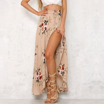 Womens Bohemia Floral Waist Summer Beach Wrap Cover Up Maxi Skirt
