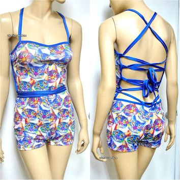Blue Rainbow Kitty Cat Spandex Jumper Monokini Swimsuit Bathing Suit Rave Dance Romper