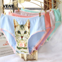 Hot Selling Cotton Women's Plus Size Underwear Briefs 3D Printing Panty Cat Panties Sexy Girls Lingerie Intimates