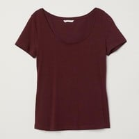 Jersey Top - Burgundy - Ladies | H&M US