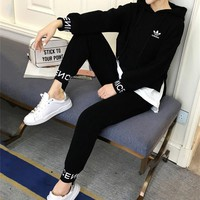 """Adidas"" Women Casual Multicolor Stitching Letter Long Sleeve Hooded Sweater Trousers Set Two-Piece Sportswear"