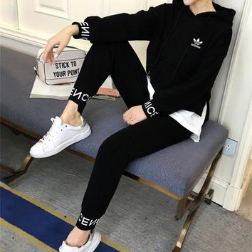 """""""Adidas"""" Women Casual Multicolor Stitching Letter Long Sleeve Hooded Sweater Trousers Set Two-Piece Sportswear"""
