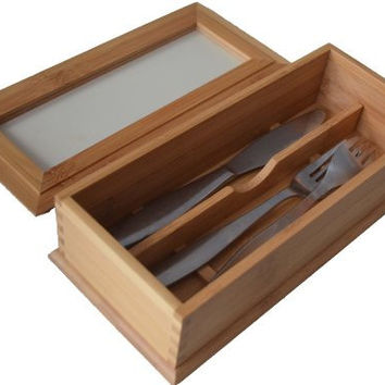 Bamboo Flatware Chest with Removable Cover. Item # 26-624
