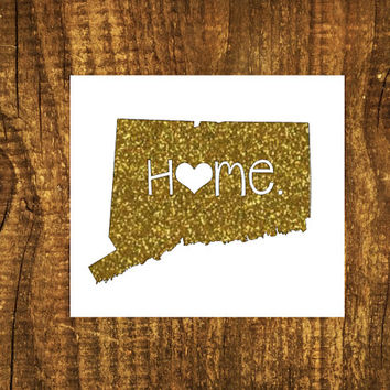 GLITTER Connecticut Home Decal   Connecticut State Decal   Homestate Decals   Love Sticker   Love Decal    Car Decal   Car Stickers   047