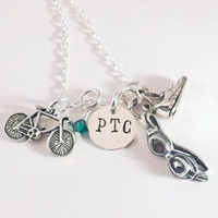 Customized Sterling Silver Triathlon Charm Necklace, Swim Bike Run Necklace with Club Letters and Swarosvski Crystal Dangles in Club Colors