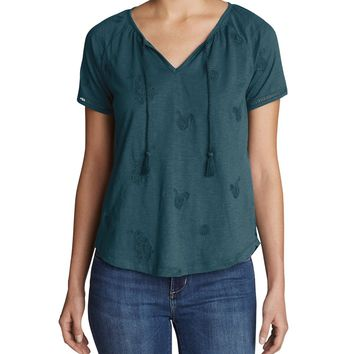 Women's Mountain Meadow Tie-front Top - Embroidered | Eddie Bauer