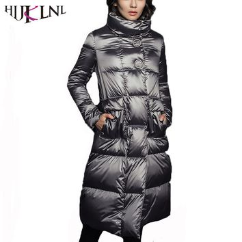 HIJKLNL daunenmantel Women Winter Long Duck Down Jacket and Coat Warm Turtleneck Feather Puffer Jacket Parka Coat casaco QN709