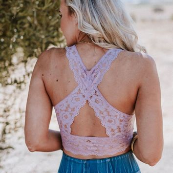 Peyton Lace Cross Back Bralette - Mauve