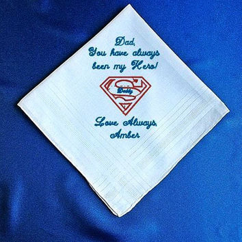 Father of the  Bride  Heirloom Embroidered, Personalized Super Hero Hanky, Gift, Handkerchief