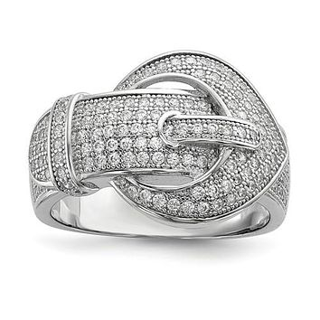 925 Sterling Silver CZ Belt Buckle Fashion Ring