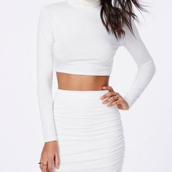 Anything But Basic Mock Turtleneck Long  Sleeve Crop Top