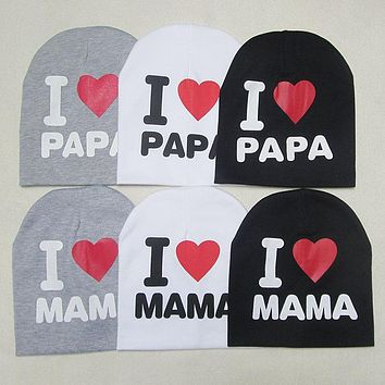 DreamShining Summer Baby Hats Knitted Cap Warm Cotton Toddler Baby Girl Boy I LOVE PAPA MAMA Print Kid Newborn Cap 1-3 Years Old