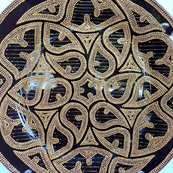 Gothic ornament.  Glass plater, point-to-point painting