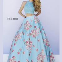 Lace Top Sherri Hill Floral Print Prom Gown 32216