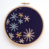 Colorful Blossoms Spring Flower Embroidery - 5 Inch Hoop Art - Hand Stitched Boho Wall Art - Shabby Chic Cottage Decor