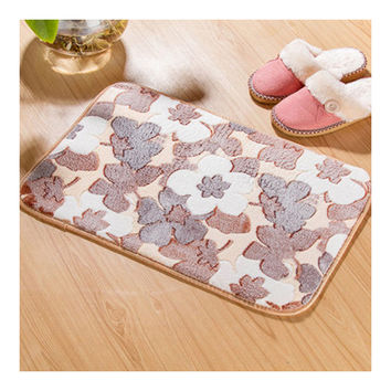 Thick Coral Fleece Ground Floor Foot Door Mat grey maple
