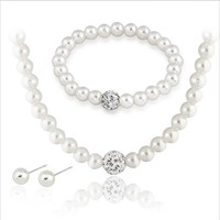 Fashion Imitation White Natural pearl Jewelry Sets Rhinestone Ball Necklace