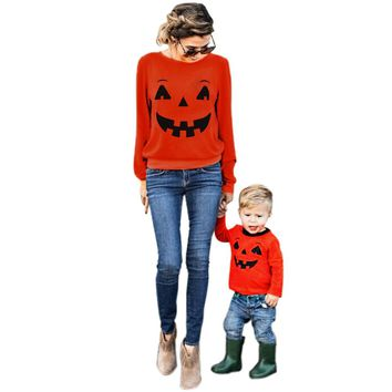 Kids Clothes 2017 Halloween Autumn Winter Family Clothes Mother Parent-Child T-shirt Tops Blouse Matching Outfit Roupas