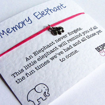 Elephants Never Forget Friendship Bracelet Wish with Silver Elephant Charm - Perfect BFF Gift or Bridesmaid Gift