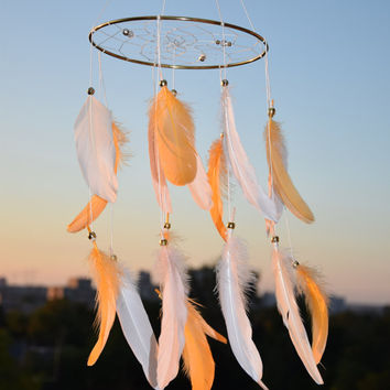 Bohemian Nursery Decor, Orange Ivory Feathers Dreamcatcher Mobile, Baby Shower Decor, Orange Home Decor,Baby Gift Idea,