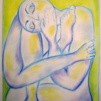 Attempting Self Control, Original Chalk Pastel Art by Artist on 16 x 20 Canvas Board Signed Original Abstract Art by Artist Ready to Frame