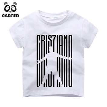 Kid's Cristiano Ronaldo Print T-shirts Boy and Girl Harajuku CR7 Tshirt Summer Baby Hipster Top Children Clothes
