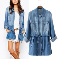 With Pocket Denim Long Sleeve Shirt [5013122244]