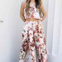 Secret Crush Crop Top & Pants Floral Set