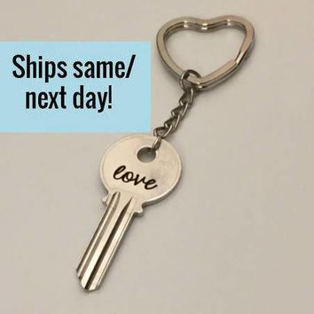 Heart Keychain, Engraved Key Keychain, Long Distance Friendship, Long Distance Relationship, Engraved Key, Christmas Gift, Stocking Stuffer