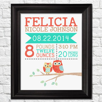 Birth announcement, birth stat prints, owls art nursery, birth stat wall art, birth stat woodland, birth gift, typography print, kids decor