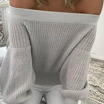 Grey Patchwork Boat Neck Off Shoulder Puff Sleeve Fashion Pullover Sweater