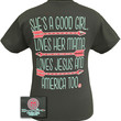 Girlie Girl Originals Shes a Good Girl Loves Her Mama Jesus America Too Arrow Bright T Shirt