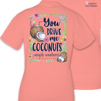 Simply Southern You Drive Me Coconuts Tee - Coral