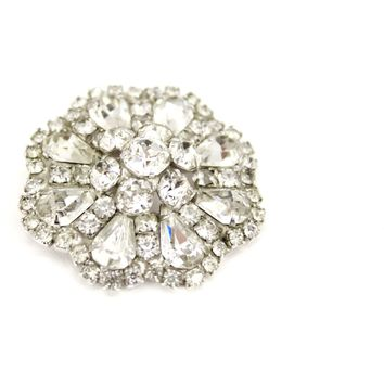 Vintage  Designer Signed WEISS Large Big Clear Layered Square & Pear cut  Rhinestone Brooch