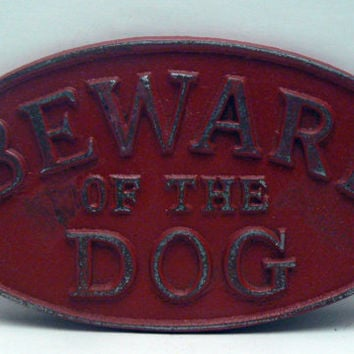 Beware of the Dog Oval Cast Iron Sign Painted Colonial Heritage Red Wall Decor Plaque, Shabby Chic Distressed