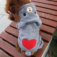 Cute Pet Dog Clothes For Small Dogs Warm Fleece Bear Clothes