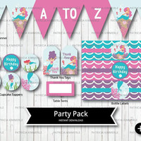 Printable Party Pack, Mermaid, Under the Sea, Sea Theme, Purple, Pink, Teal, Birthday, Baby Shower, Decorations, DIY,  INSTANT DOWNLOAD