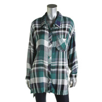 Vintage Havana Womens Plaid Long Sleeved Button-Down Top